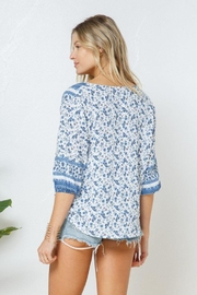 Blue B Boho Print Cross Front Layer  Top - Other