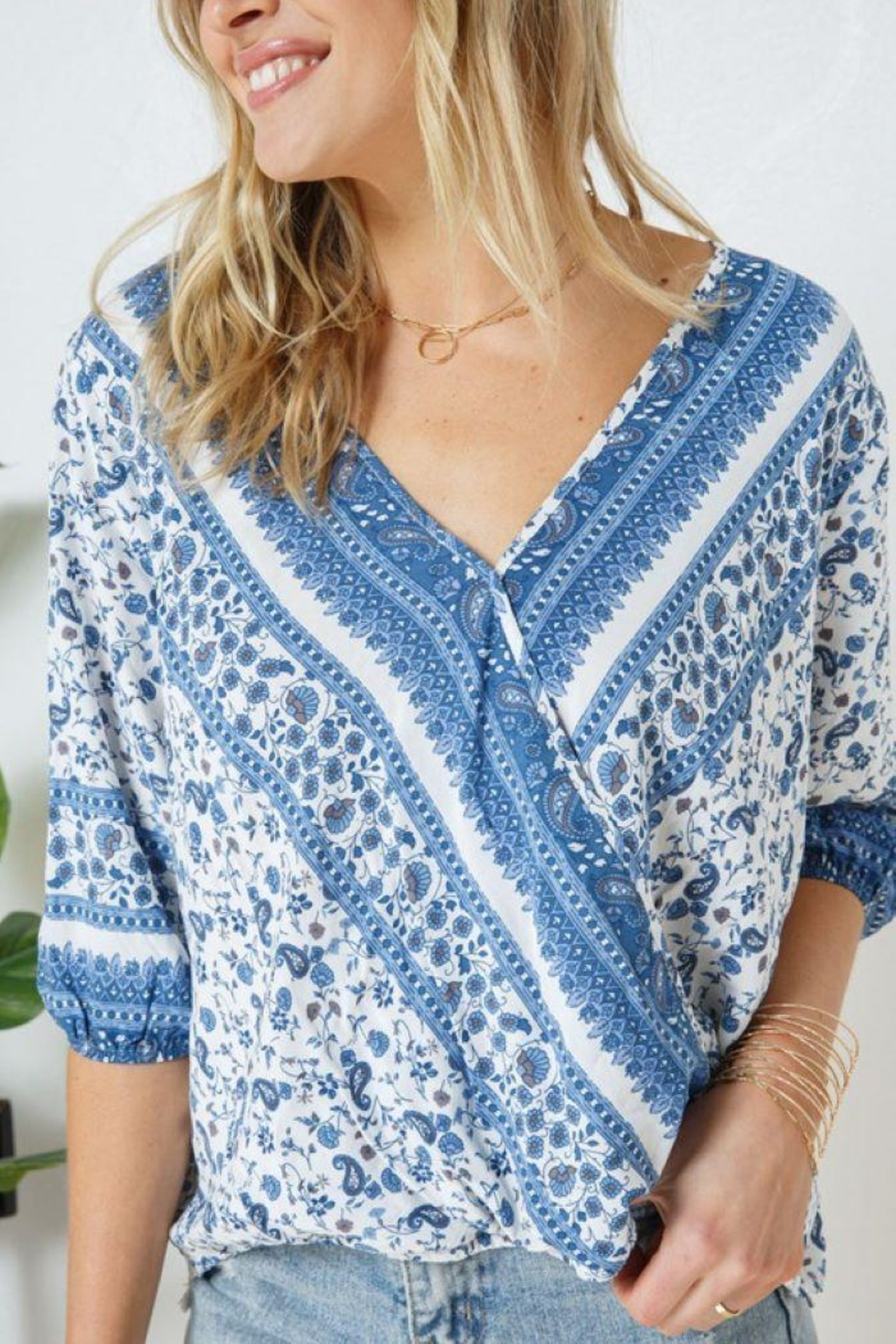 Blue B Boho Print Cross Front Layer  Top - Main Image