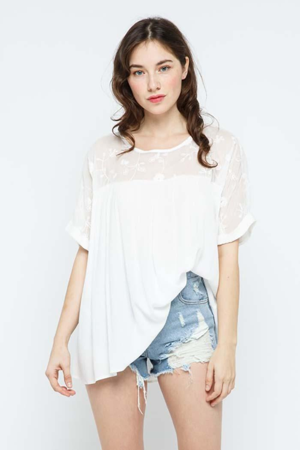 Blue B Embroidery Oversized Short Sleeve Top - Front Cropped Image