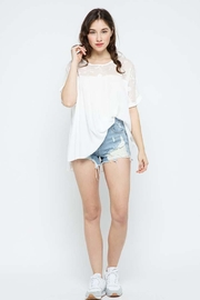 Blue B Embroidery Oversized Short Sleeve Top - Front full body