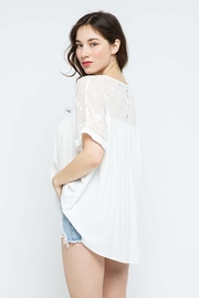 Blue B Embroidery Oversized Short Sleeve Top - Side cropped