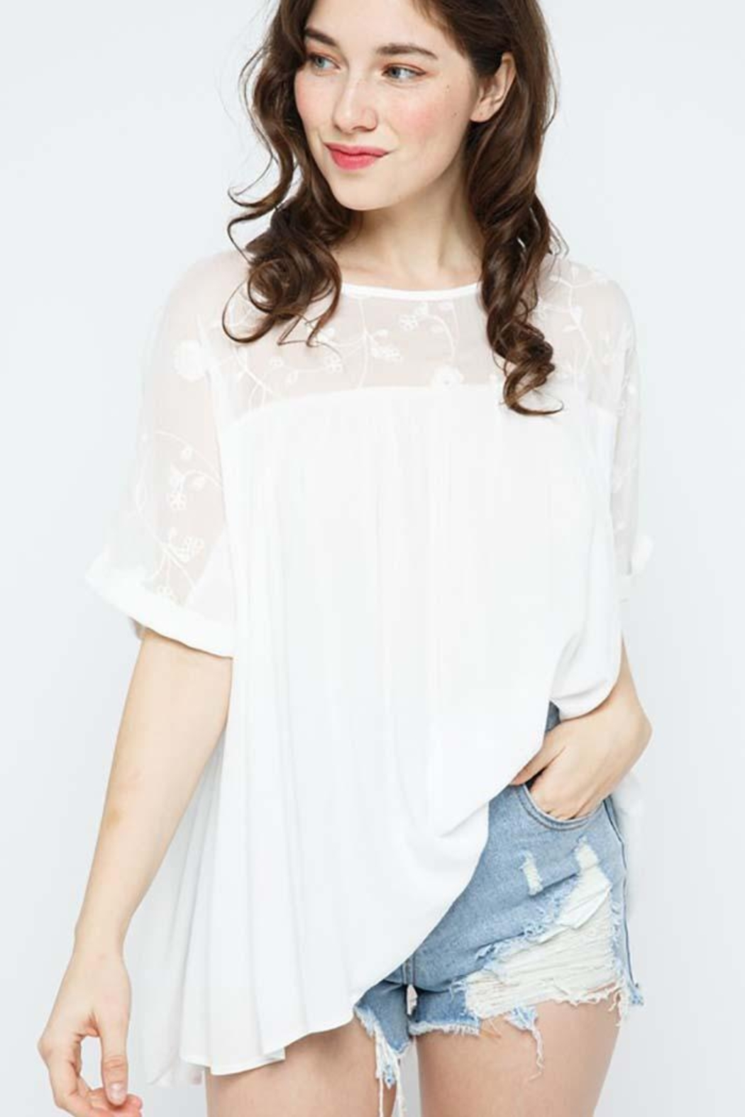 Blue B Embroidery Oversized Short Sleeve Top - Back Cropped Image
