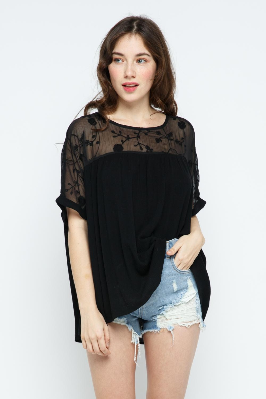 Blue B Embroidery Oversized Short Sleeve Top - Main Image
