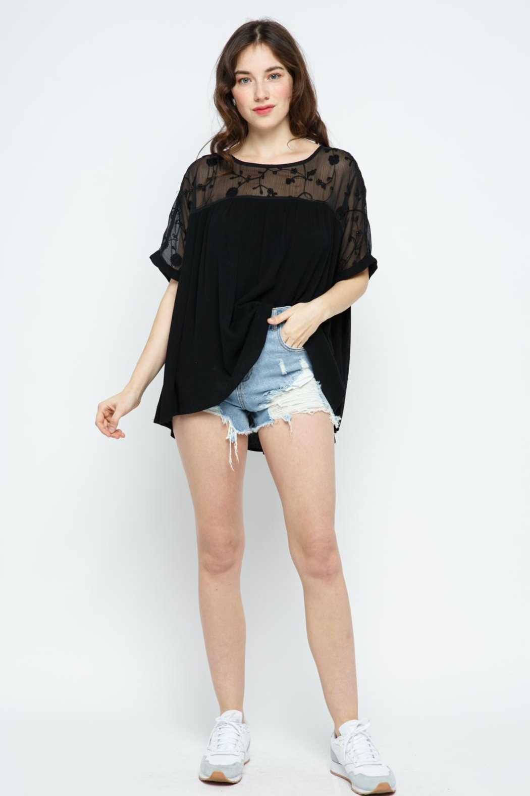 Blue B Embroidery Oversized Short Sleeve Top - Front Full Image