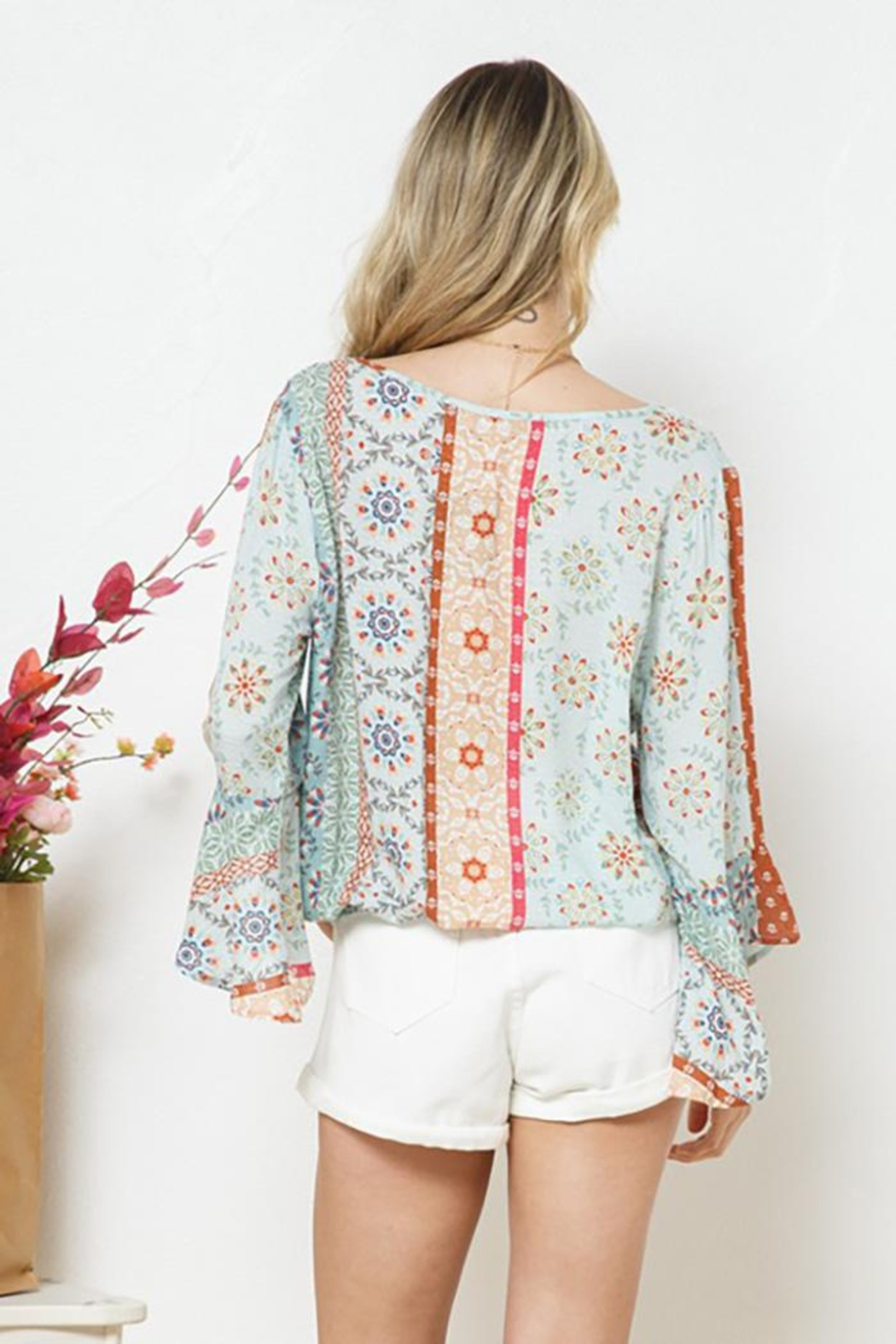 Blue B Ethnic Print Surplice Top - Side Cropped Image