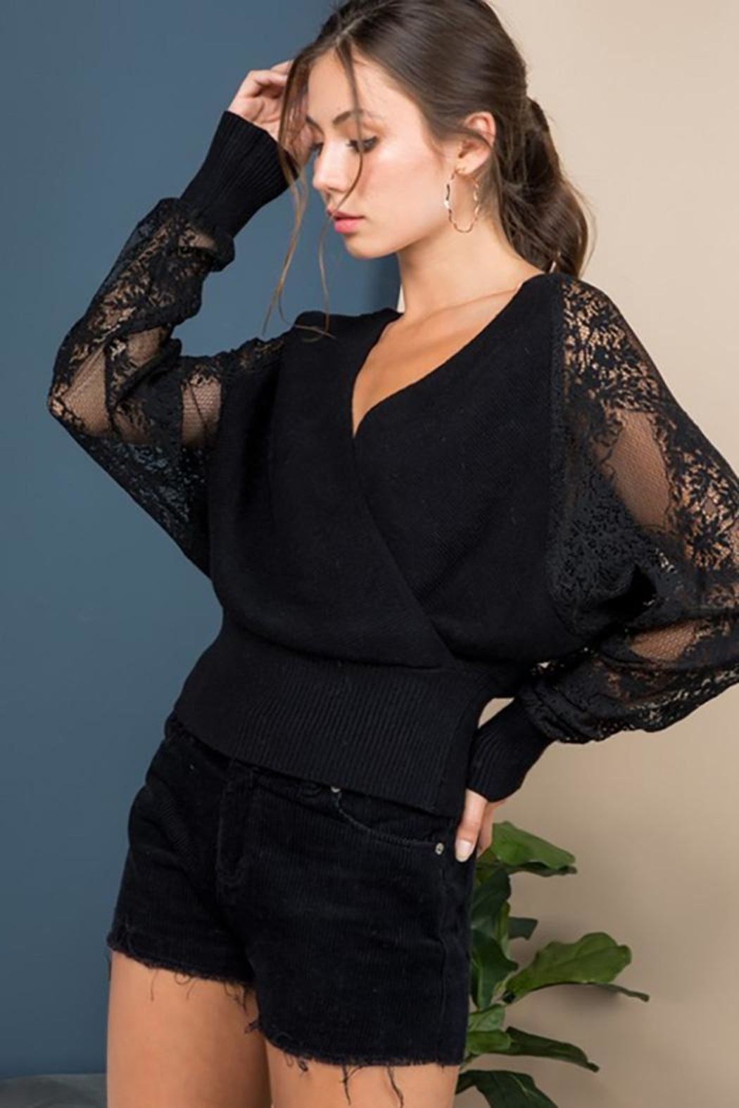 Blue B Floral-Lace Sleeves Sweater Top - Main Image