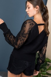 Blue B Floral-Lace Sleeves Sweater Top - Other