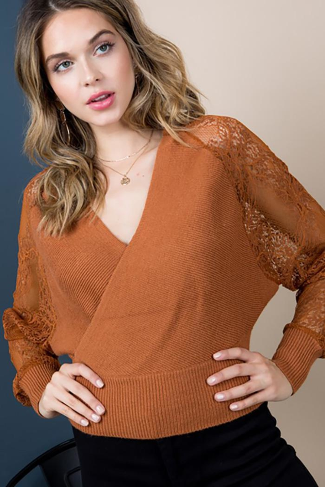 Blue B Floral-Lace Sleeves Sweater Top - Front Cropped Image