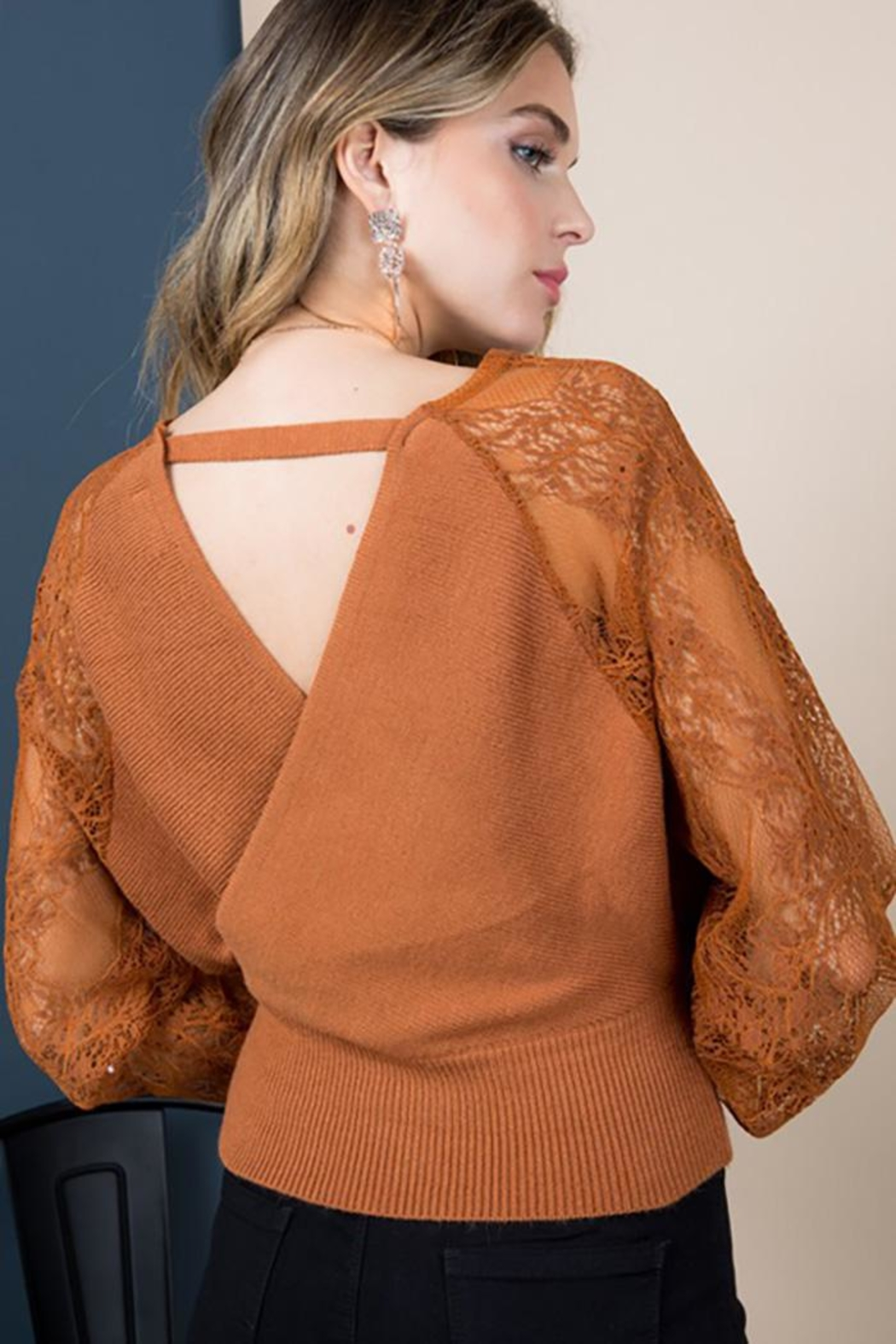 Blue B Floral-Lace Sleeves Sweater Top - Front Full Image