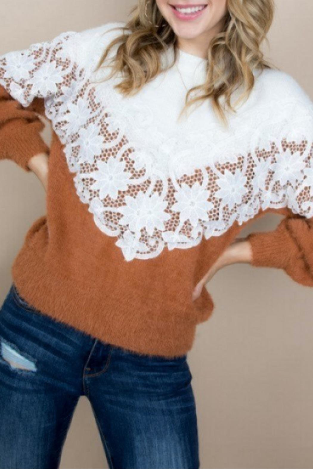 Blue B Lace Accent Sweater - Main Image