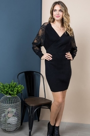 Blue B Lace Sleeve Wrap Dress - Front full body