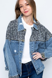 Blue B Leopard Print Patch Denim Jacket - Product Mini Image