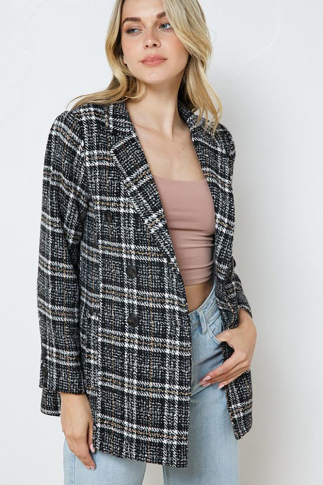 Blue B Plaid Double Jacket With Full Lining - Front Full Image