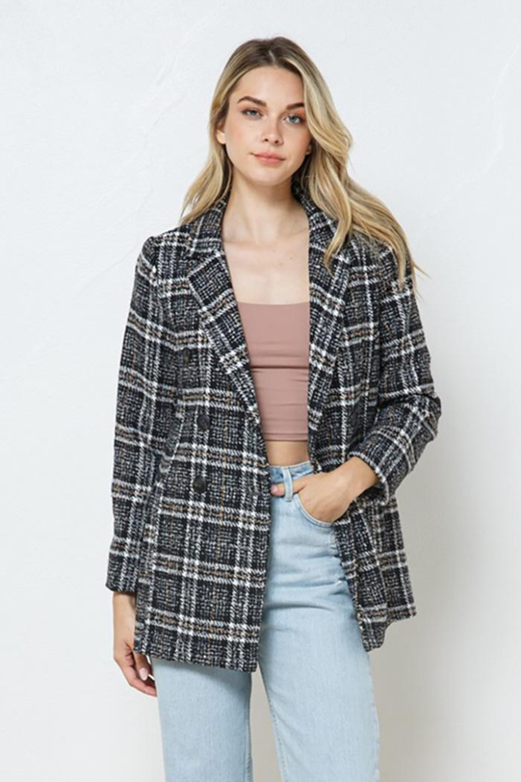 Blue B Plaid Double Jacket With Full Lining - Side Cropped Image