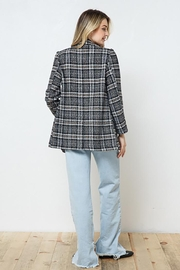 Blue B Plaid Double Jacket With Full Lining - Back cropped