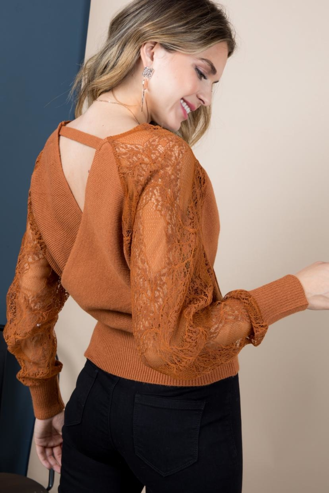 Blue B Rust Sweater Top - Side Cropped Image