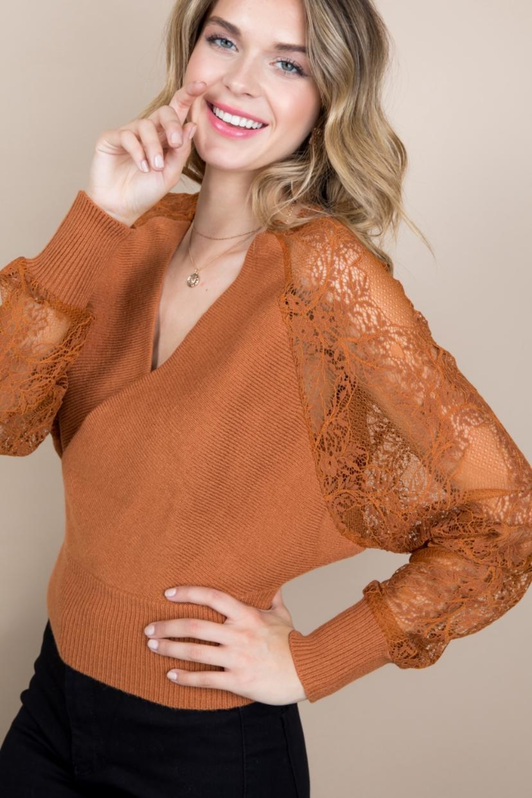 Blue B Rust Sweater Top - Front Full Image