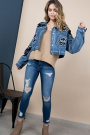 Blue B Sequin Fringe Denim Jacket - Side cropped