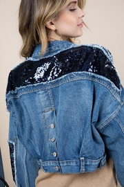 Blue B Sequin Fringe Denim Jacket - Front full body