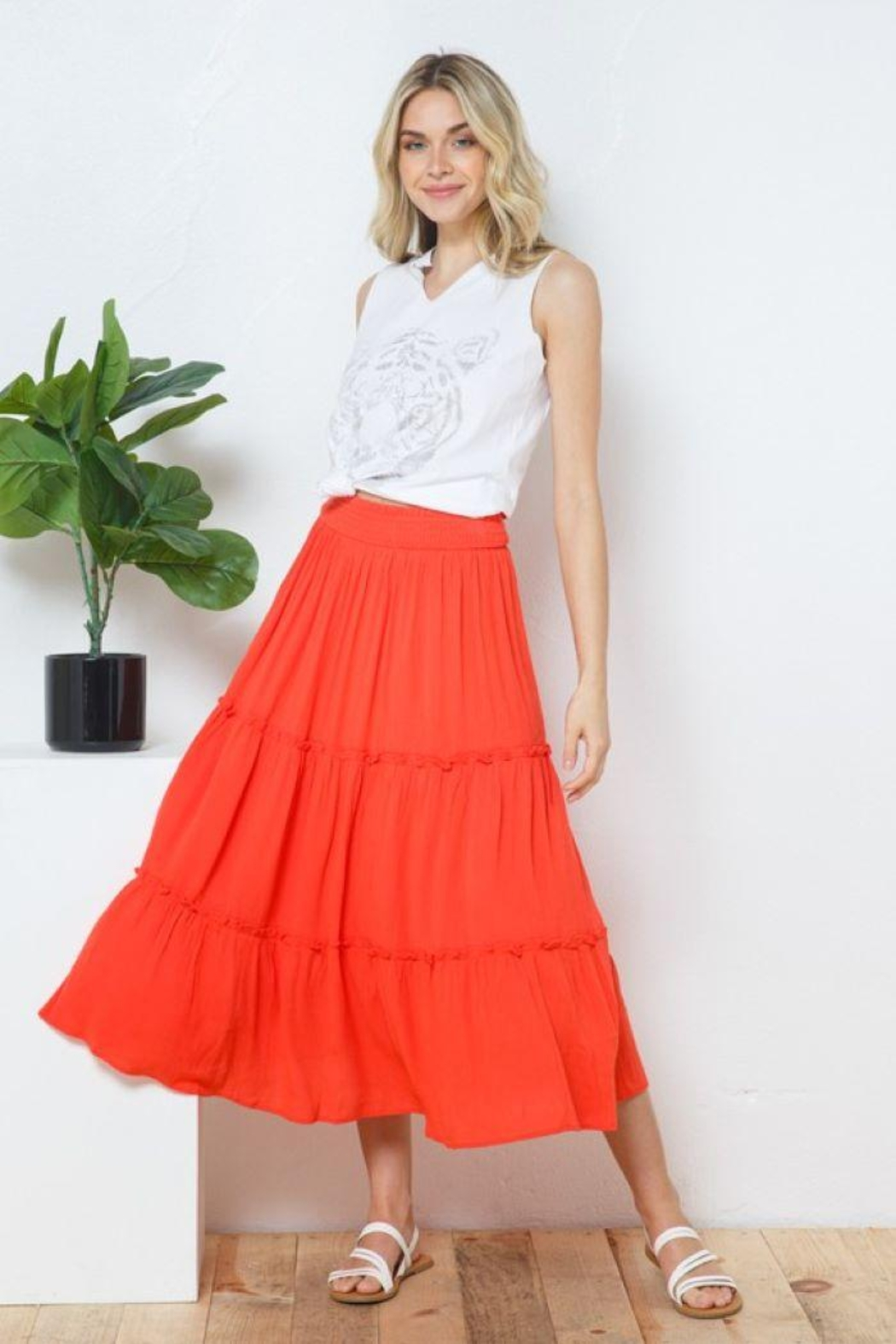 Blue B Smocked Gauze Tiered Waist Maxi Skirt - Front Cropped Image