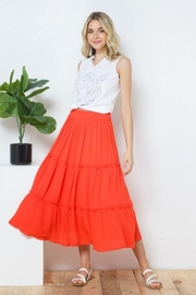 Blue B Smocked Gauze Tiered Waist Maxi Skirt - Front cropped