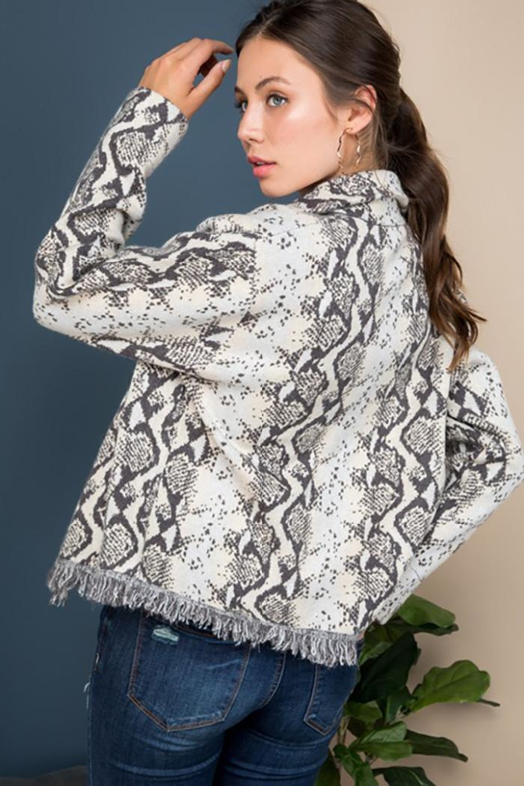 Blue B Snake Print Sweater Jacket - Side Cropped Image