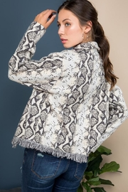 Blue B Snake Print Sweater Jacket - Side cropped