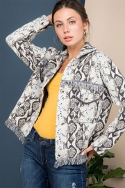 Blue B Snake Print Sweater Jacket - Front cropped