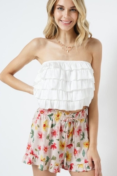 Blue B White Strapless Ruffle Tupe Top - Product List Image