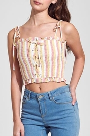 blue blush Smocked Top - Front cropped