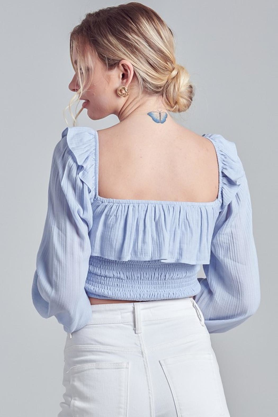 blue blush Baby Blue Top - Back Cropped Image