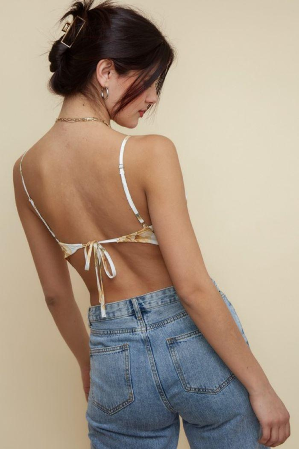 blue blush Bandana Satin Cami Top - Back Cropped Image