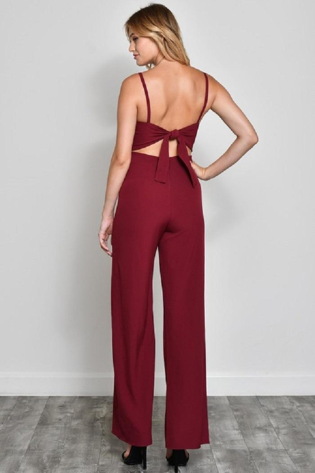 blue blush Bow Front Jumpsuit - Side Cropped Image