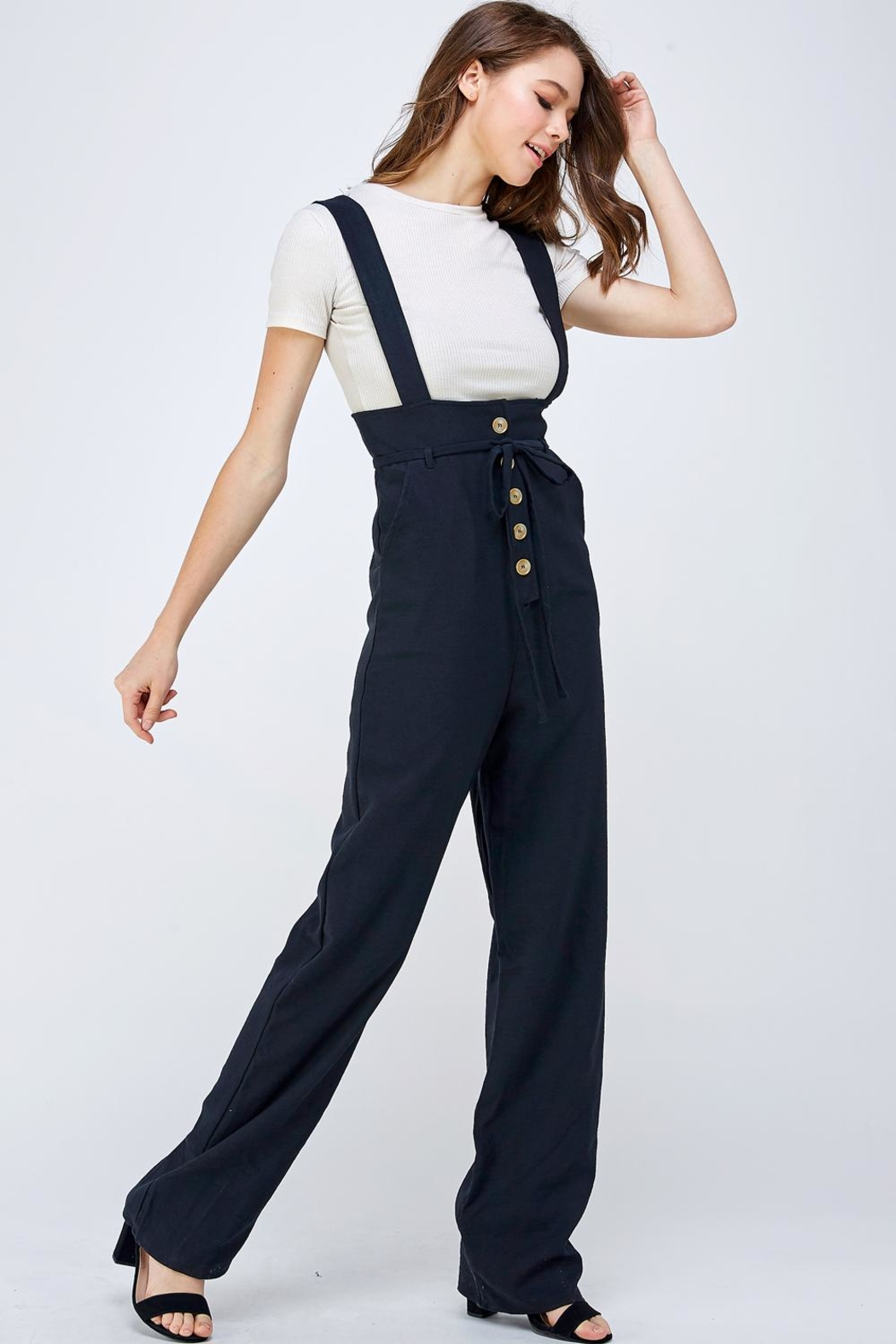 blue blush Button Overall Jumpsuit - Front Full Image