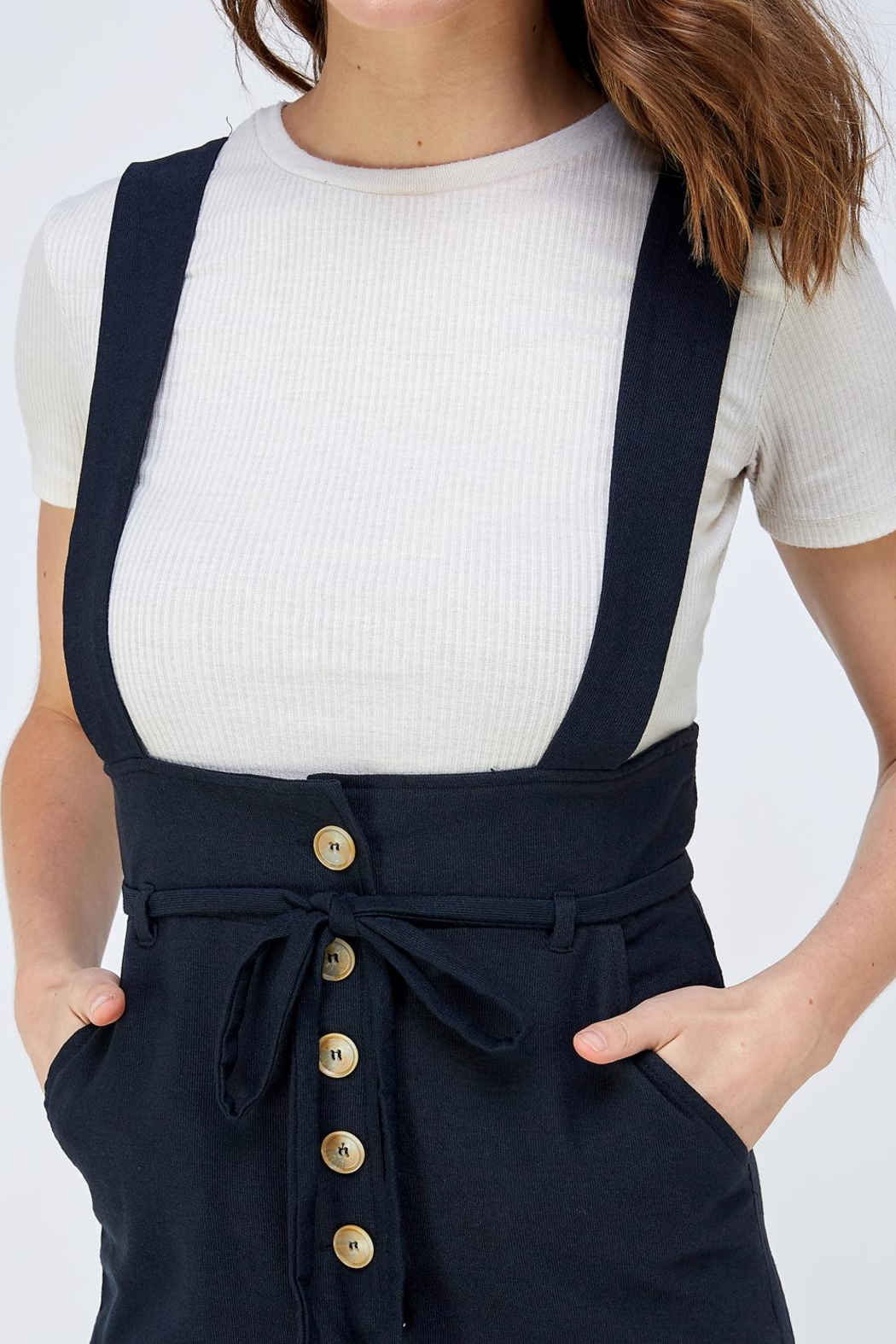 blue blush Button Overall Jumpsuit - Side Cropped Image