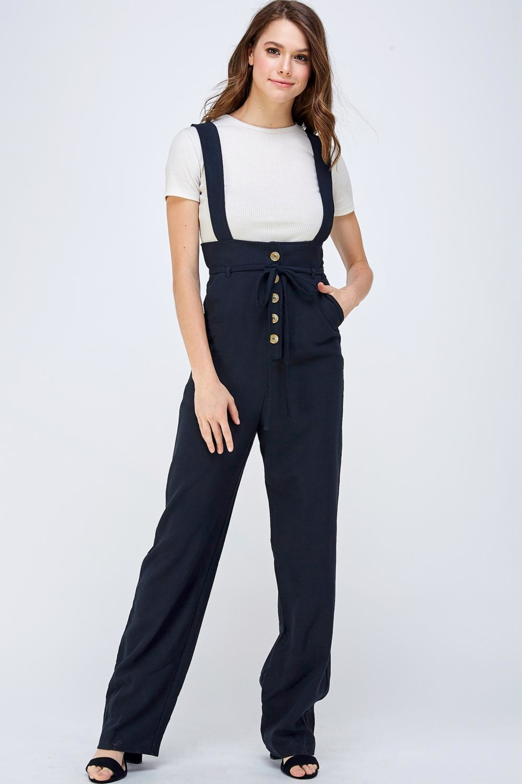 blue blush Button Overall Jumpsuit - Main Image