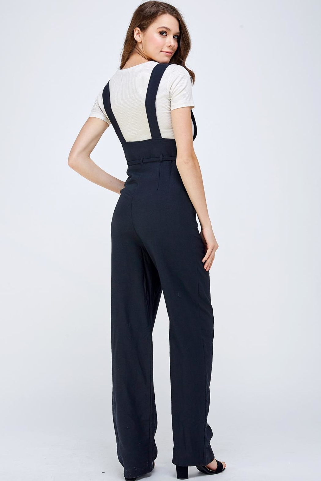 blue blush Button Overall Jumpsuit - Back Cropped Image