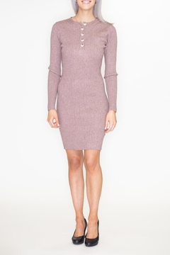 blue blush Button Sweater Dress - Product List Image