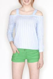 blue blush Cold Shoulder Top - Product Mini Image