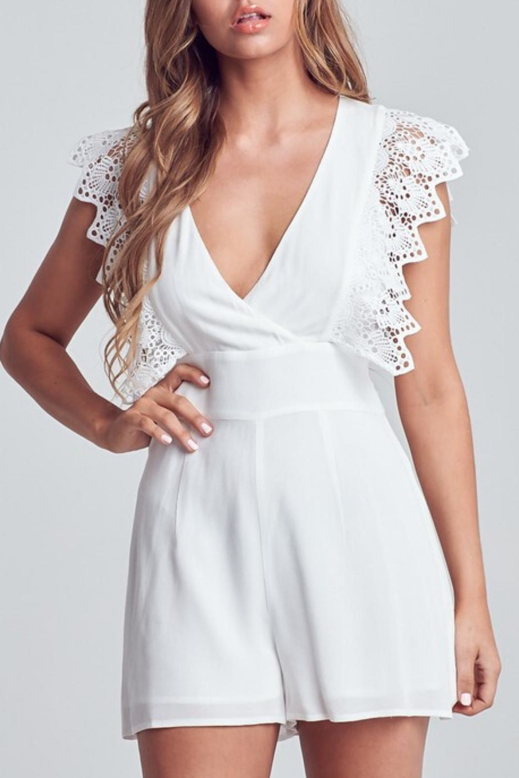 blue blush Crochet-Sleeve Romper - Front Cropped Image