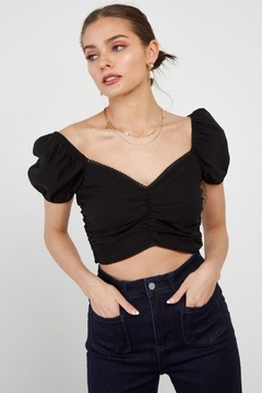 blue blush Cropped Fitted Top W/ Dege Trim - Alternate List Image