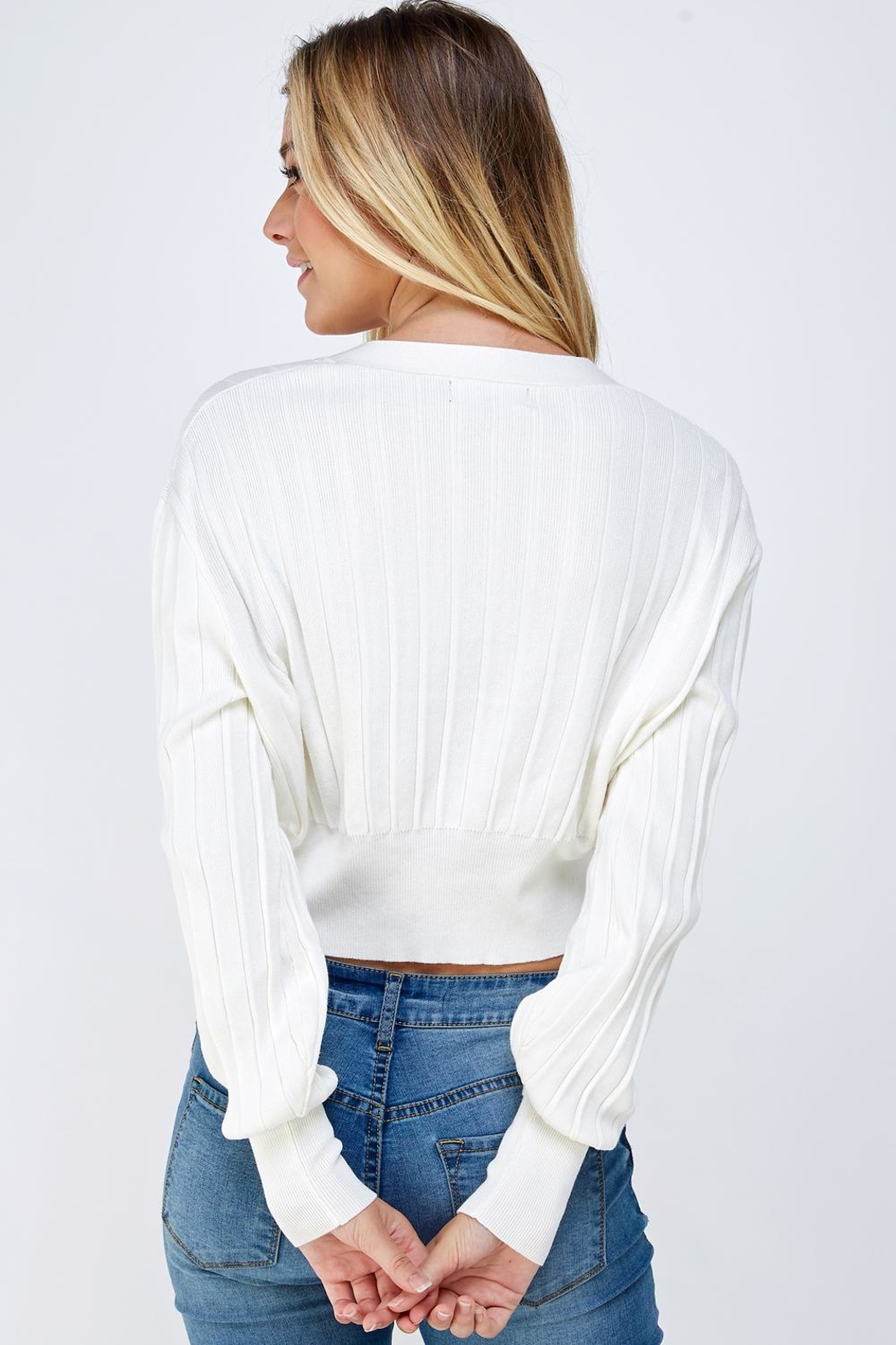 blue blush Cropped Sweater Cardigan - Back Cropped Image
