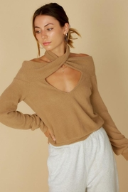 blue blush Cross-Neck Rib Sweater - Product Mini Image