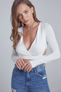 blue blush Cut-Out Cropped Top - Alternate List Image