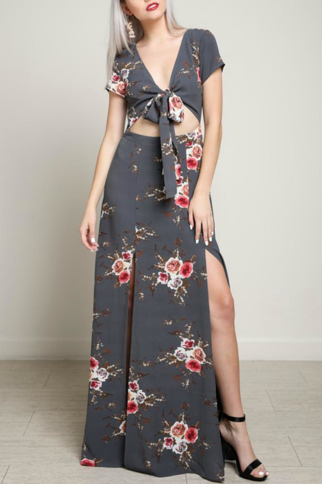 blue blush Cut-Out Maxi Dress - Front Cropped Image