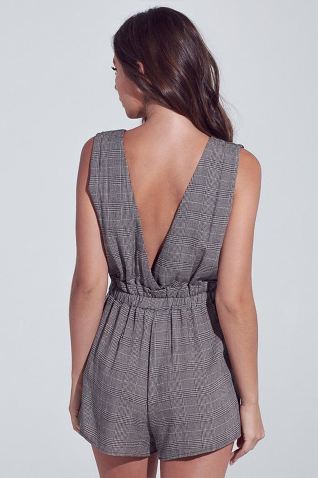 blue blush Dark Checkered Romper - Side Cropped Image