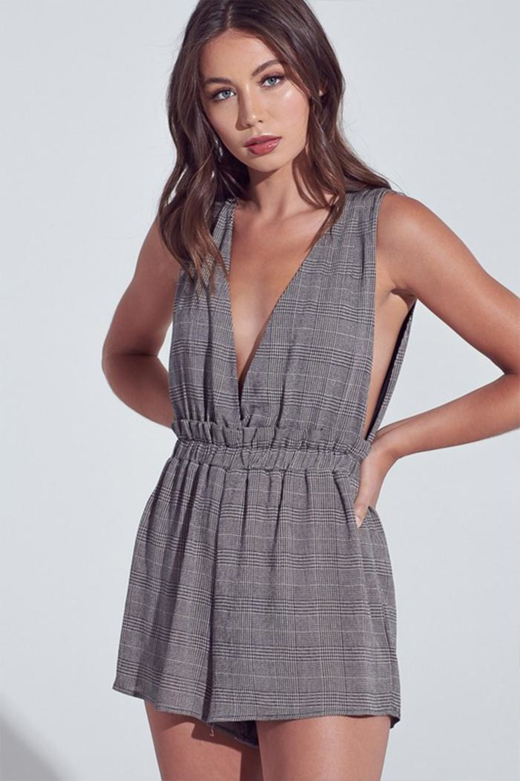 blue blush Dark Checkered Romper - Main Image
