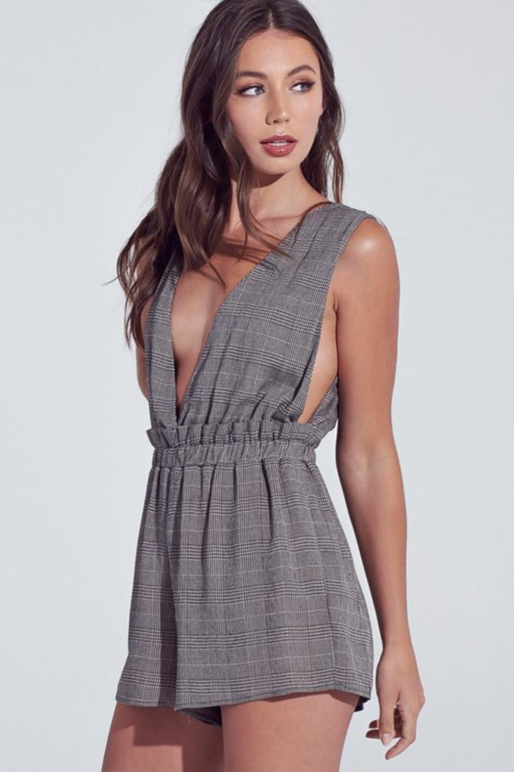 blue blush Dark Checkered Romper - Front Full Image