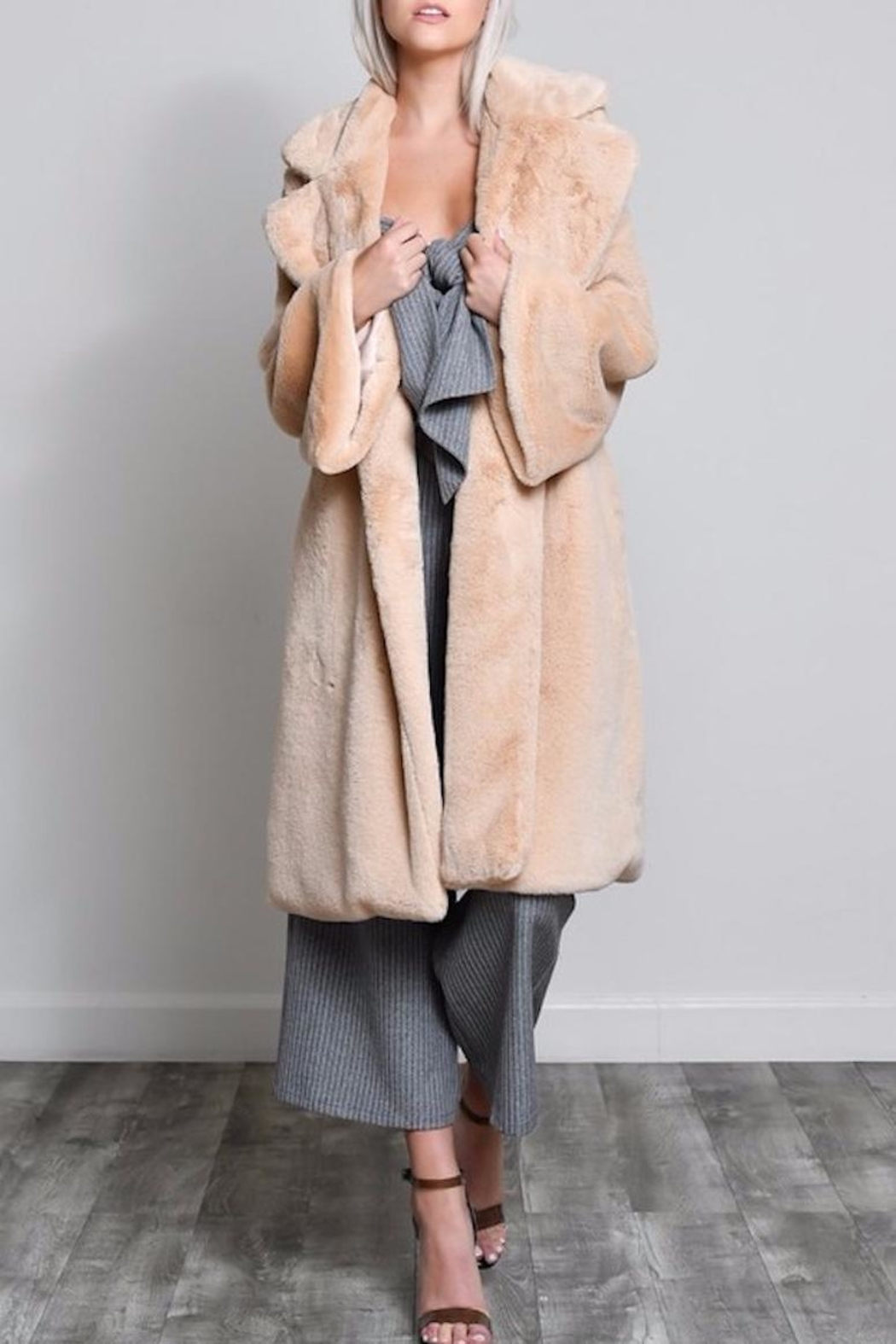 blue blush Faux Fur Coat - Main Image