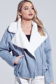 blue blush Faux Fur Jacket - Product Mini Image